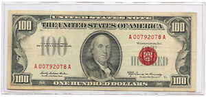 1966A $100 United States Legal Tender Note Red Seal Fr #1551