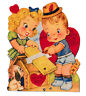 Large Vintage Mechanical Valentine Card, CUTE BOY and GIRL SAWING fedora hat