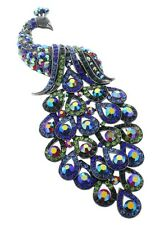 Peacock with Long Tail Feathers Rhinestone Pin Brooch Broach Brooch