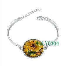 Sunflower Clock glass cabochon Tibet silver bangle bracelets wholesale