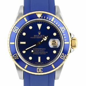 1987 Rolex Submariner 16803 Two-Tone Gold Stainless Steel Blue Rubber 40mm Watch
