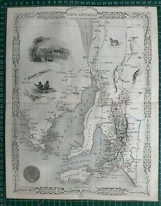1851 Antique Map; Part of South Australia (Adelaide etc.) - John Tallis / Rapkin
