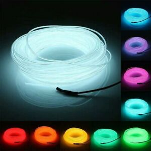 1M/2M/3M/5M/10M Flexible Neon Light Glow EL Wire Rope Tube LED Strip Waterproof
