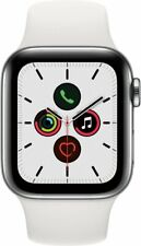 Apple Watch Series 5 GPS + Cellular, 40mm Stainless Case White Sport Band. Mint