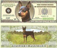 Miniature Pinscher Dog Min Pin Million Dollar Bills x 4 New Gift