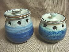 2 HAND CRAFTED POTS Glazed Stoneware Clay w/ Cut-Outs & Lids - Blue & Grey & Tan