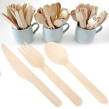 36 x DISPOSABLE WOODEN CUTLERY Buffet Party BBQ Wedding Birthday Eco Friendly UK