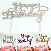 New Shining Happy Birthday Party Supplies Decoration Cake Topper Paper Decor