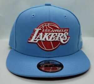 NEW ERA 9FIFTY SNAPBACK HAT.   NBA.  LOS ANGELES LAKERS.   SKY BLUE.