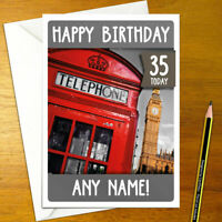 RED TELEPHONE BOX Personalised Birthday Card - A5 england uk london big ben