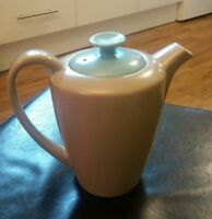 Poole Pottery Twin Tone small coffee pot Original Lid Ice Green & Mushroom C 96