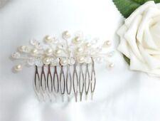 HANDMADE - Bridal, Bridesmaid - Small Ivory Pearl & AB Crystal hair Comb Slide