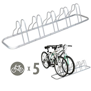 Adjustable Storage Stand For Bicycle Parking Space 5Bike Floor Rack Silver Steel