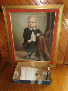 19th Century Large Pastel Portrait Painting, Mary Catherine Weimer Id'd w/ Photo