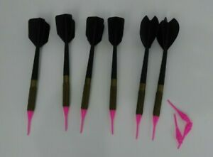 Set of 6 Plastic tip Darts soft Darts Used 3 Extra Tips