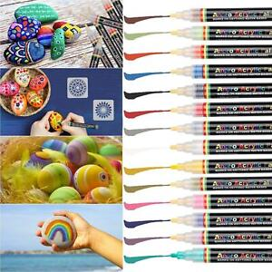 14 Colors Acrylic Paint Pens With 2 Drawing Template Stone Painting Multiuse Set