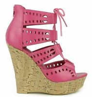 Shia Black Magenta Nude White Laser Cut-outs Wedge Peep toe Lace up Heels