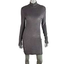 Claude Montana Knitwear Womens Bodycon Dress Metallic Vintage Pullover Mock Neck