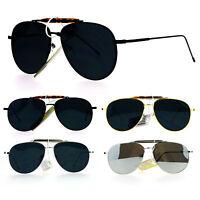 SA106 Ultra Flat Lens Retro Vintage Style Aviator Clip Bridge Sunglasses