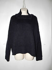 EILEEN FISHER L SWEATER WINTER BLACK WOOL ALPACA SILK COWL NECK $298