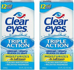 Clear Eyes Triple Action Relief Eye Drops 0.5-Ounces 2-Pack