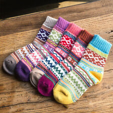 Women Ladies Soft Thick Winter Socks Warm Wool Cashmere Nordic Novelty Socks