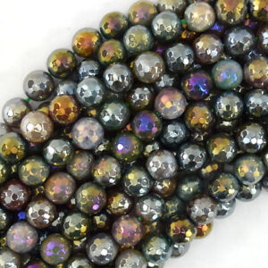 """Mystic Titanium Faceted Indian Agate Round Beads 15"""" 4mm 6mm 8mm 10mm 12mm"""