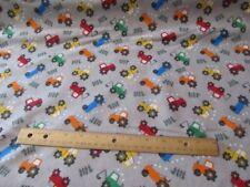 2 Yards Gray With Multicolored Tractors Toss Flannel Fabric