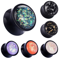 PAIR Starry Sky Glitter Acrylic Ear Gauges Ear Flesh Tunnels Plugs Ear Expanders