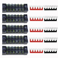 1 Set 6Position 600V 15A Dual Row Wire Barrier Block Screw Terminal Strip Panel
