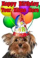 Yorkshire Terrier Dog  Happy Birthday PID734 A5 Personalised Greeting Card PARTY