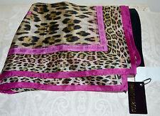 NWT $300 ROBERTO CAVALLI Logo Animal Print Pink Accent Sheer Silk Scarf 90 cm