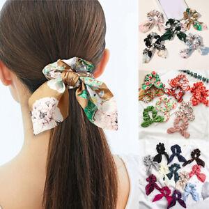 Women Satin Bow Knotted Hair Ring Peony Print Rabbit Ear Elastic Ribbon Hairband