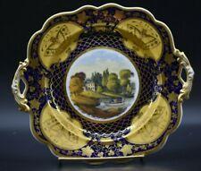 Ridgway English Cake Plate Cobalt Blue & Gold Butterflies & Boat Harbor(1045)