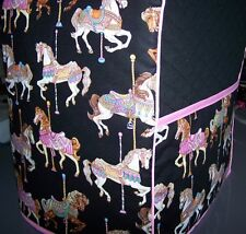 Carousel Horses  on Black Quilted Fabric Cover for KitchenAid Mixer NEW