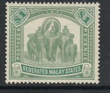 FEDERATED MALAY STATES,1922- SG76 $1 Pale green & green Mounted mint
