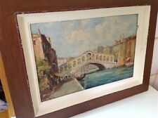 Antique Italian oil on wood original painting by Rossi italy (m766)