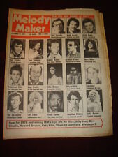MELODY MAKER 1977 DEC 31 COSTELLO BOWIE ELVIS ROTTEN BOLAN BOOMTOWN RATS DOLLY