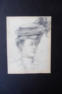 FRENCH SCHOOL CA. 1900 - SUPERB PORTRAIT OF A WOMAN - BELLE EPOQUE - PENCIL
