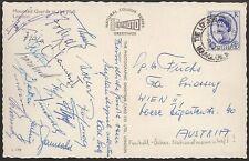 s1665) Österreich Fussball-Länderspiel in London Autogrammkarte viele Unterschr