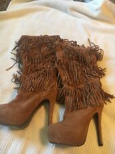 Mojo Moxy Burlesque style fringe Brown boots