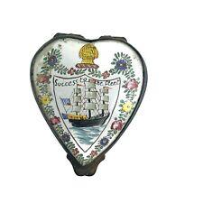"Vintage French Success To The Fleet Enamel Trinket Box Heart Shaped France 2"""