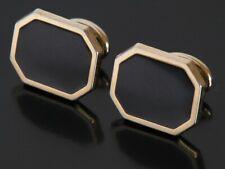 Vtg Pierre Cardin Onyx Gold Tone Designer Cufflinks Elegant Evening Black Tie