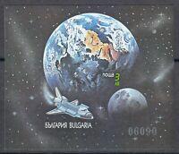 Bulgaria 1991 Mi Block 215B Sc 3628 Imperf .US Shuttle & earth. Space. NASA **