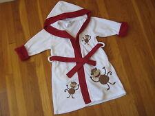 Company Store Kids white red monkey BATH ROBE fleece hooded XS 2 3 4  2T 3T 4T