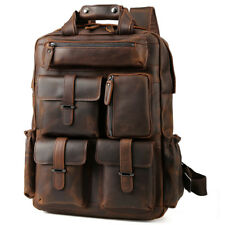 """Men Genuine Leather Backpack 17"""" Laptop Bag Large Hiking Travel Camping Carry on"""