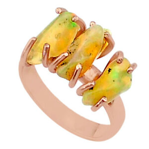 WHOLESALE 9.25cts Ethiopian Opal Raw 14k Rose Gold Handmade Ring Size 7 T38029