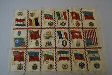 """Antique Tobacco Cigarette Silk Flag Quilted Embroidered Textile Remnant 14 x 18"""""""