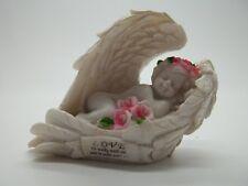 "Angel Cherub Mini Statue Figurine Inspirational Poem He walks w/ me 2.5""H #30"