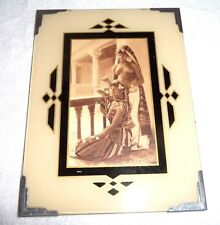 ANTIQUE FRENCH COLLOTYPE POSTCARD OF ALGERIAN GIRLS IN DECO FRAME TOPLESS RARE